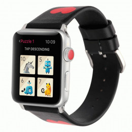 Черный кожаный ремешок с принтом сердца be loved для Apple Watch 0040-01-1