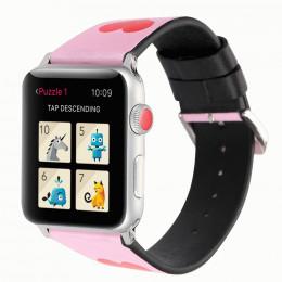Розовый кожаный ремешок с принтом сердца be loved для Apple Watch 0040-01-2