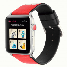 Красный кожаный ремешок с принтом сердца be loved для Apple Watch 0040-01-3