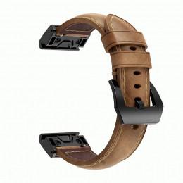 Коричневый ретро ремешок из натуральной кожи с черной пряжкой для Garmin Fenix 5/5 plus/6 0040-02-1