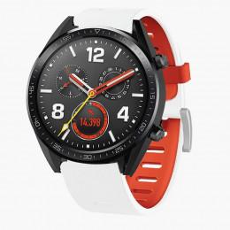 Бело-оранжевый двухцветный силиконовый ремешок для Huawei Watch GT / GT2 0040-03-2