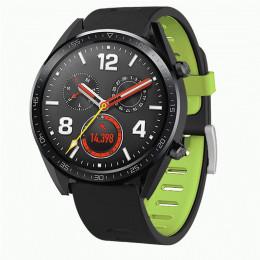 Черно-зеленый двухцветный силиконовый ремешок для Huawei Watch GT / GT2 0040-03-3