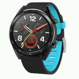 Черно-синий двухцветный силиконовый ремешок для Huawei Watch GT / GT2 0040-03-4