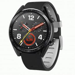 Черно-серый двухцветный силиконовый ремешок для Huawei Watch GT / GT2 0040-03-5