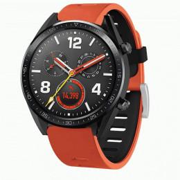 Оранжево-черный двухцветный силиконовый ремешок для Huawei Watch GT / GT2 0040-03-6