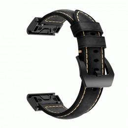 Черный ретро ремешок из натуральной кожи с черной пряжкой для Garmin Fenix 3/5x/5x plus/6x 0041-02-2