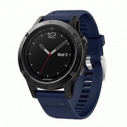 Темно-синий  быстросъемный силиконовый ремешок для Garmin Fenix 5/5 plus/6 0043-02-12