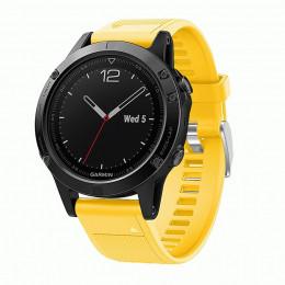 Желтый быстросъемный силиконовый ремешок для Garmin Fenix 5 plus 0043-02-2