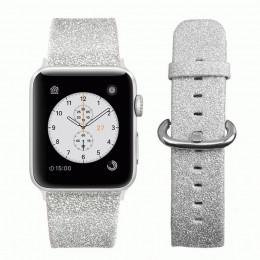 Серебряный классический кожаный ремешок для Apple Watch 0044-01-4