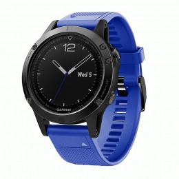 Синий силиконовый быстросъемный спортивный ремешок с черной пряжкой для Garmin Fenix 5/5 plus/6 0044-02-12