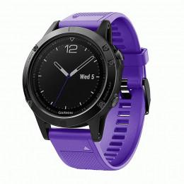 Фиолетовый силиконовый быстросъемный спортивный ремешок с черной пряжкой для Garmin Fenix 5 plus 0044-02-4