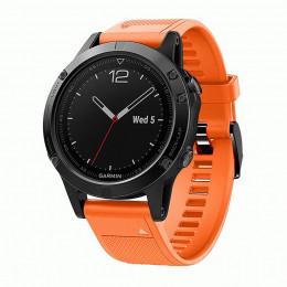 Оранжевый силиконовый быстросъемный спортивный ремешок с черной пряжкой для Garmin Fenix 5/5 plus/6 0044-02-8