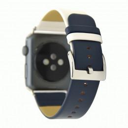 Бело-синий контрастный кожаный ремешок для Apple Watch 0045-01-1