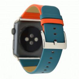 Оранжево-синий контрастный кожаный ремешок для Apple Watch 0045-01-2