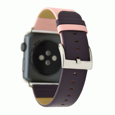 Розово-фиолетовый контрастный кожаный ремешок для Apple Watch 0045-01-4