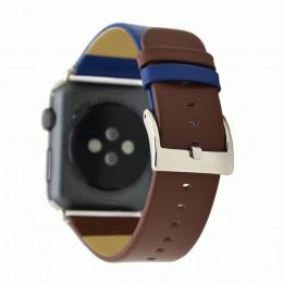 Сине-коричневый контрастный кожаный ремешок для Apple Watch 0045-01-5