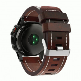 Красно-коричневый плоский кожаный ремешок с белой строчкой для Garmin Fenix 3/5x/5x plus/6x 0045-02-1
