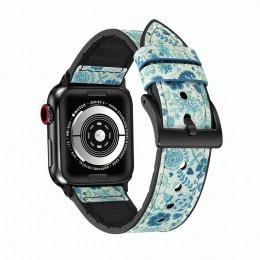 Голубой кожаный ремешок для Apple Watch 0046-01-1