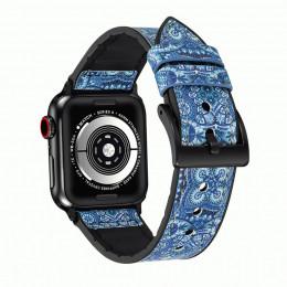 Синий кожаный ремешок для Apple Watch 0046-01-3