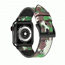 Зеленый камуфляжный кожаный ремешок для Apple Watch 0046-01-4