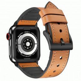 Коричневый кожаный ремешок с силиконовой вставкой для Apple Watch 0046-01-5