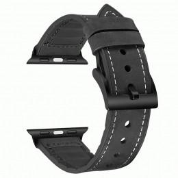 Черный кожаный ремешок с силиконовой вставкой для Apple Watch 0046-01-7