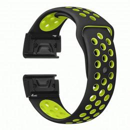 Черно-зеленый перфорированный силиконовый ремешок для Garmin Fenix 3/5x/5x plus/6x 0047-02-2