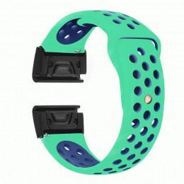 Бирюзово-синий перфорированный силиконовый ремешок для Garmin Fenix 3/5x/5x plus/6x 0047-02-8
