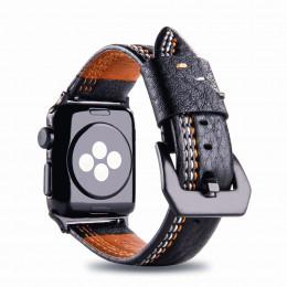 Черный кожаный ремешок с тройной строчкой для Apple Watch 0049-01-1