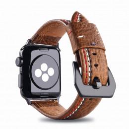 Коричневый кожаный ремешок с тройной строчкой для Apple Watch 0049-01-2