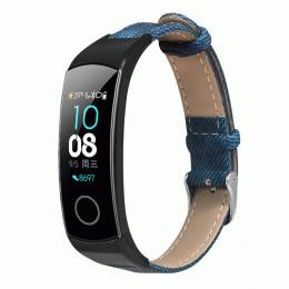Синий джинсовый кожаный ремешок для Huawei Honor Band 4/5 0051-03-1