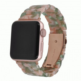 Розово-зеленый звеньевой ремешок из полимерной смолы для Apple Watch 0052-01-4