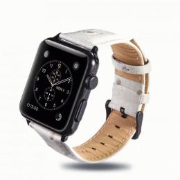 Белый винтажный кожаный ремешок для Apple Watch 0058-01-3