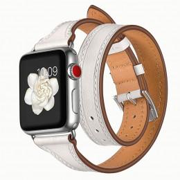 Белый тонкий двойной кожаный ремешок для Apple Watch 0059-01-1