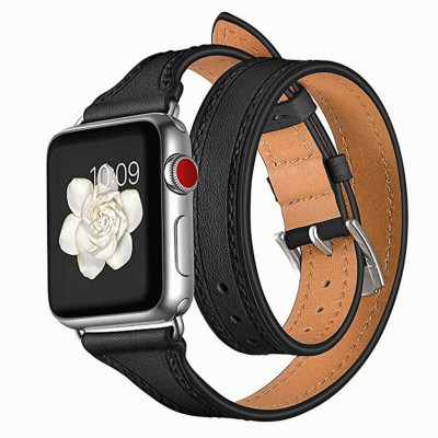 Черный тонкий двойной кожаный ремешок для Apple Watch 0059-01-2
