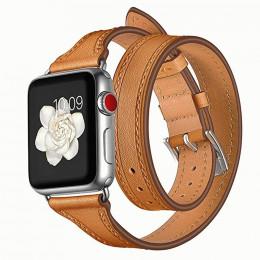 Коричневый тонкий двойной кожаный ремешок для Apple Watch 0059-01-3