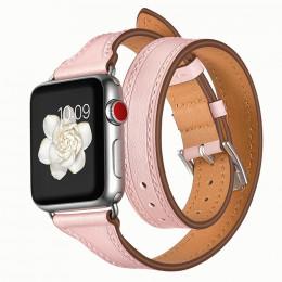 Розовый тонкий двойной кожаный ремешок для Apple Watch 0059-01-4