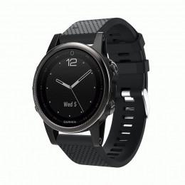 Черный силиконовый спортивный ремешок для Garmin Fenix 5s plus 0059-02-6