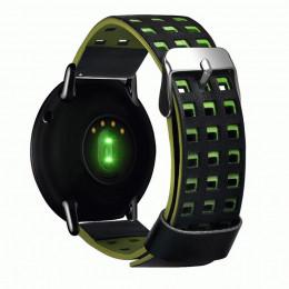 Черно-зеленый перфорированный ремешок из натуральной кожи для Xiaomi Amazfit Pace 0060-03-4