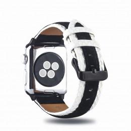 Черно-белый двухцветный кожаный ремешок для Apple Watch 0061-01-1