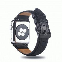 Черный двухцветный кожаный ремешок для Apple Watch 0061-01-2
