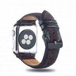 Черно-коричневый двухцветный кожаный ремешок для Apple Watch 0061-01-3