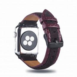 Красно-коричневый двухцветный кожаный ремешок для Apple Watch 0061-01-4