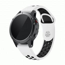 Бело-черный перфорированный силиконовый ремешок для Garmin Fenix 5/5 plus/6 0061-02-1