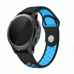 Черно-синий перфорированный силиконовый ремешок для Garmin Fenix 5/5 plus/6 0061-02-10