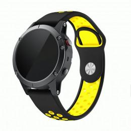 Черно-желтый перфорированный силиконовый ремешок для Garmin Fenix 5/5 plus/6 0061-02-4