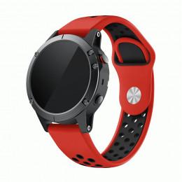 Красно-черный перфорированный силиконовый ремешок для Garmin Fenix 6 0061-02-5