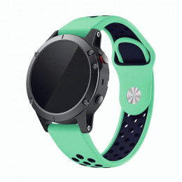 Зелено-синий  перфорированный силиконовый ремешок для Garmin Fenix 6 0061-02-7