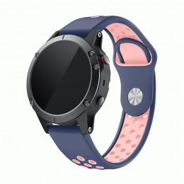Сине-розовый перфорированный силиконовый ремешок для Garmin Fenix 5/5 plus/6 0061-02-8