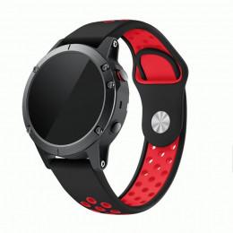 Черно-красный перфорированный силиконовый ремешок для Garmin Fenix 6 0061-02-9